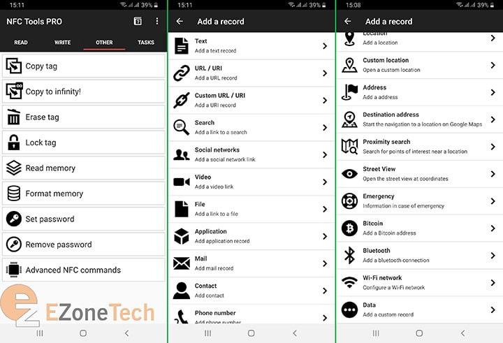các tính năng trên app NFC tool