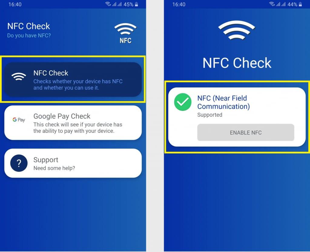 kiểm tra điện thoại có nfc dùng app nfc check